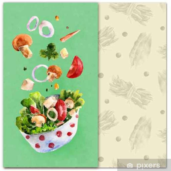 Sticker Pixerstick Arrière-plan avec salade, menu. illustration d'aquarelle - Nourriture