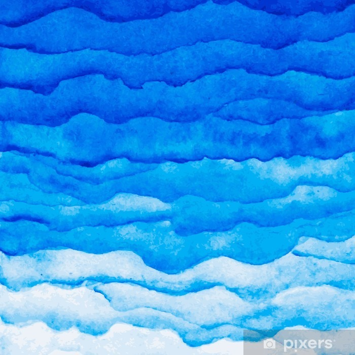Vector watercolor blue wave background. Watercolor layers of different Poster - Graphic Resources