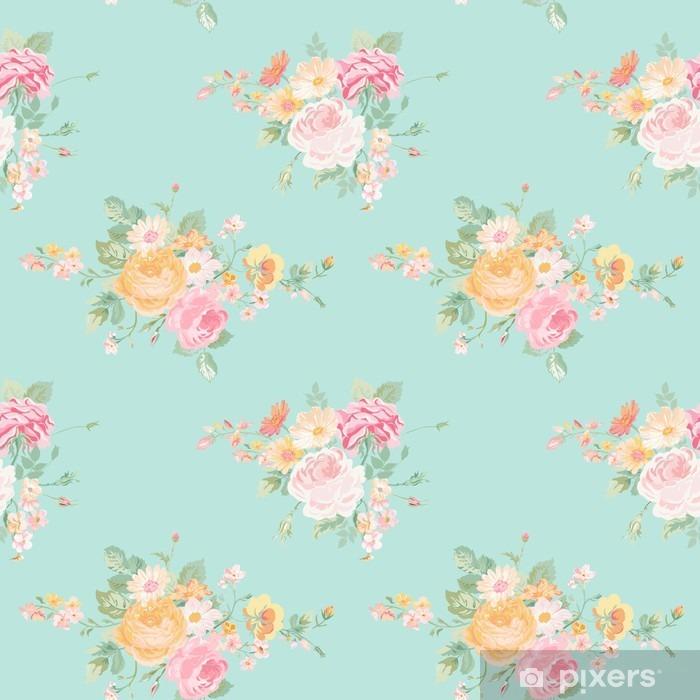 Vintage kukkia tausta - saumaton kukka nuhjuinen tyylikäs kuvio Itsestäänkiinnittyvä valokuvatapetti - Graafiset Resurssit