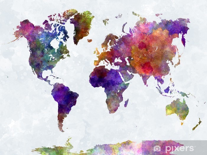 World map in watercolorpurple and blue Pixerstick Sticker -