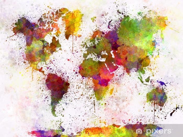 Sticker Pixerstick Carte du monde dans l'aquarelle - iStaging