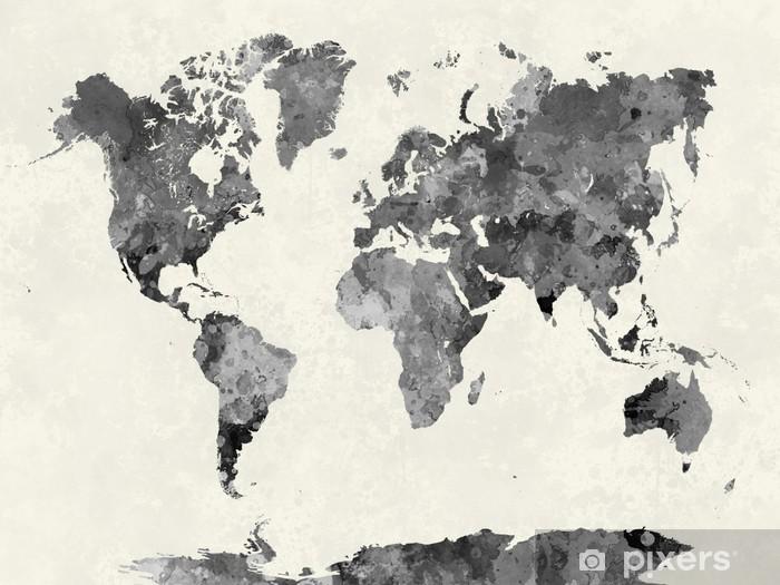 Papier peint vinyle Carte du monde dans l'aquarelle grise - Autres