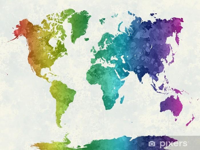 Koc pluszowy Mapa świata w akwareli tęczy - iStaging