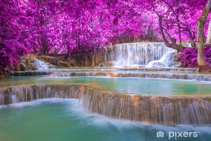 Vinyl-Fototapete Wasserfall in regen Wald (Tat Kuang Si Wasserfälle bei Luang Praba - Wasser