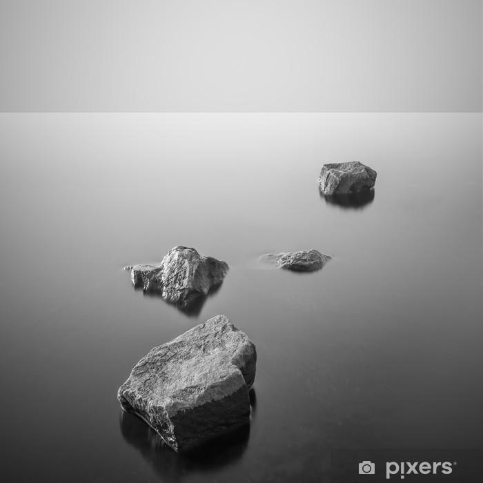 Minimalist misty landscape. Black and white. Framed Poster - Landscapes