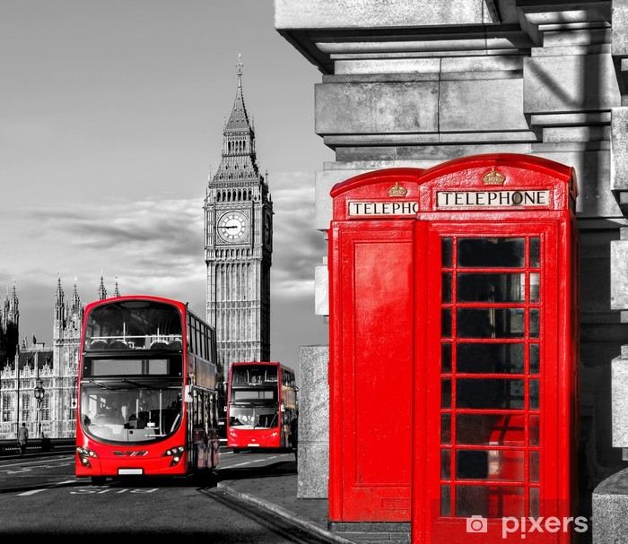 Papier Peint Londres Avec Les Bus Rouges Contre Big Ben En
