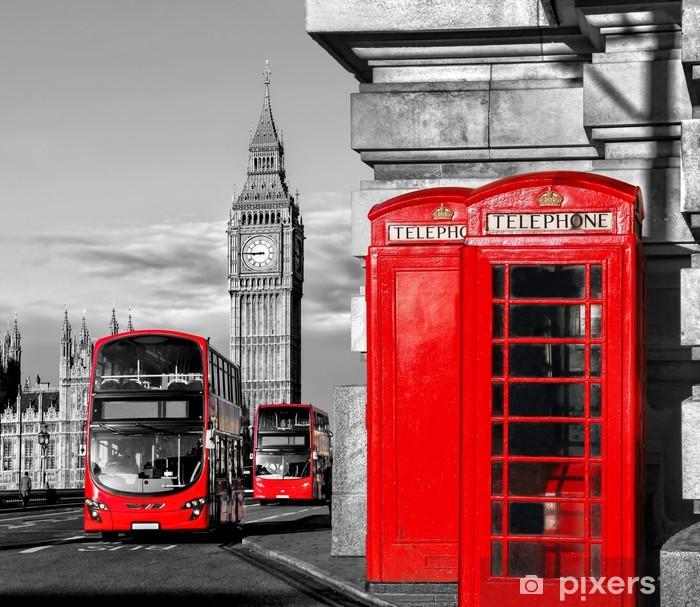 Sticker Pixerstick Londres avec les bus rouges contre Big Ben en Angleterre, Royaume-Uni - Villes européennes