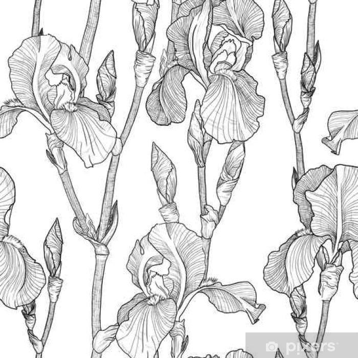 Poster Nahtlose Muster mit Schönen Iris-Blumen (schwarz und weiß) - Pflanzen und Blumen