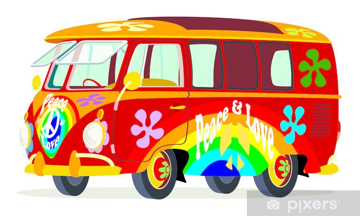 Vinil Duvar Resmi Caricatura furgoneta Volkswagen T1 microbus hippi renkli manzara ön y yanal - Volkswagen
