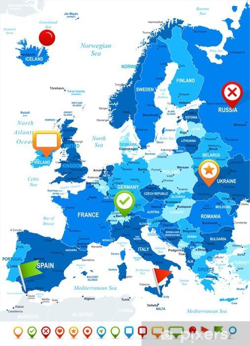 Eurooppa Kartta Ja Navigointikuvakkeet Illustration Image