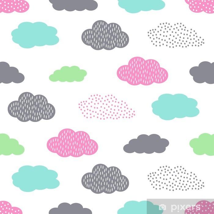 Buzdolabı Çıkartması Çocuklar tatil için bulutlar, renkli sorunsuz desen. Sevimli bebek duş vector background. Çocuk çizim tarzı illüstrasyon. - Manzaralar