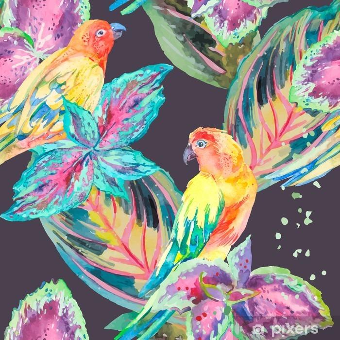 Papier peint vinyle Aquarelle Perroquets .Tropical fleurs et feuilles. - Plantes et fleurs