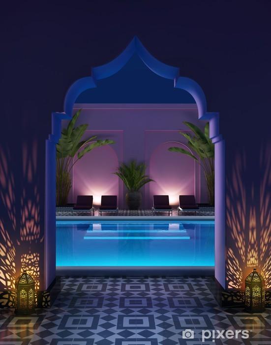 Pixerstick Sticker Marokkaanse riad binnenplaats met een zwembad - Privé Gebouwen