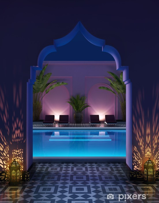 Moroccan riad courtyard with a swimming pool Vinyl Wall Mural - Private Buildings