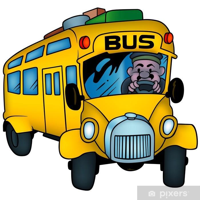 Naklejka Pixerstick School Bus - cartoon kolorowych ilustracji - Naklejki na ścianę