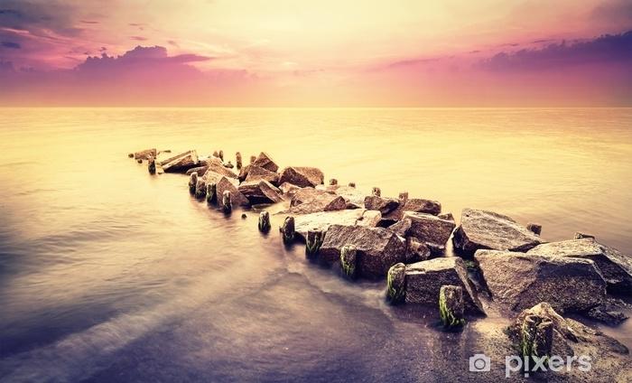 Pixerstick-klistremerke Vintage tonet vakkert havlandskap etter solnedgang. - Lanskap