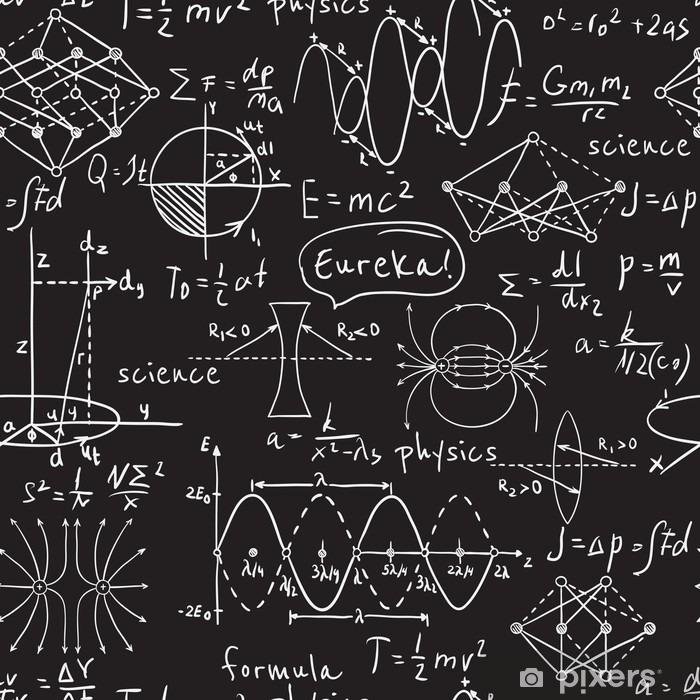 Naklejka Pixerstick Fizyczne wzory, grafiki i obliczeń naukowych na tablicy. Archiwalne ręcznie rysowane ilustracji laboratorium bez szwu wzór - Nauka