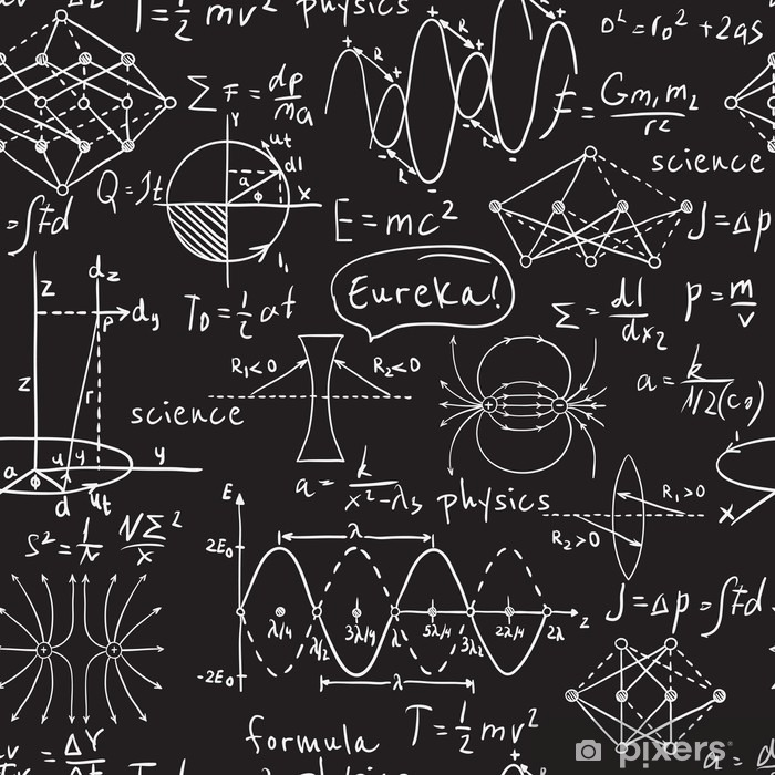 Physical formulas, graphics and scientific calculations on chalkboard. Vintage hand drawn illustration laboratory seamless pattern Pixerstick Sticker - Science