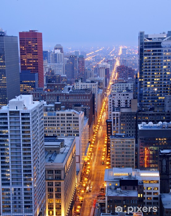State Street in Downtown Chicago at Night Vinyl Wall Mural - America