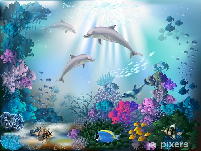 The underwater world with dolphins and plants Pixerstick Sticker - Themes