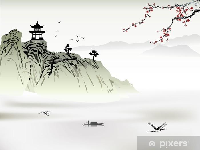 Fototapeta winylowa Chiński krajobraz, malarstwo - Góry