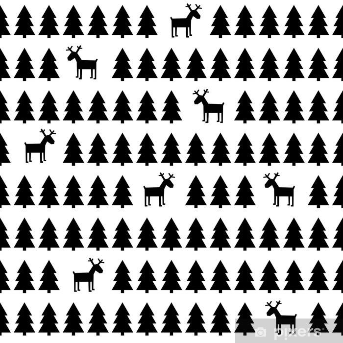 Sticker Zwart En Wit Eenvoudige Naadloze Retro Patroon Van Kerstmis