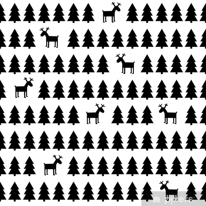 black and white simple seamless retro christmas pattern deers xmas trees happy new