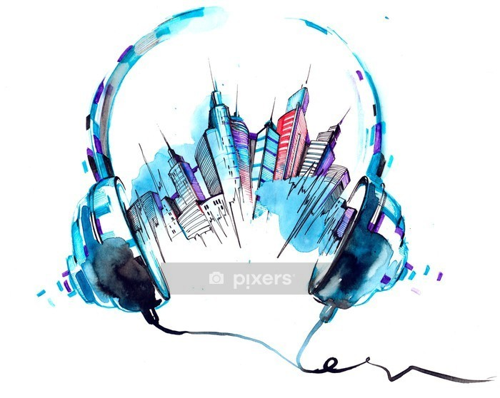 Väggdekor Ljud av staden - Hobby och fritid