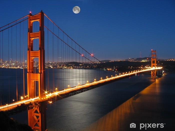 Papier peint vinyle Golden gate bridge avec lumière lune - Thèmes