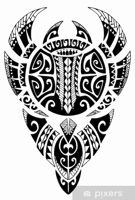 Papier peint vinyle Maori Manta Tattoo - Signes et symboles