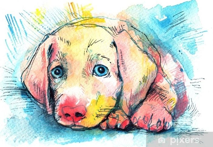 Fototapeta winylowa Leżącego szczeniaka na niebieskim tle, szkic akwarela - Zwierzęta