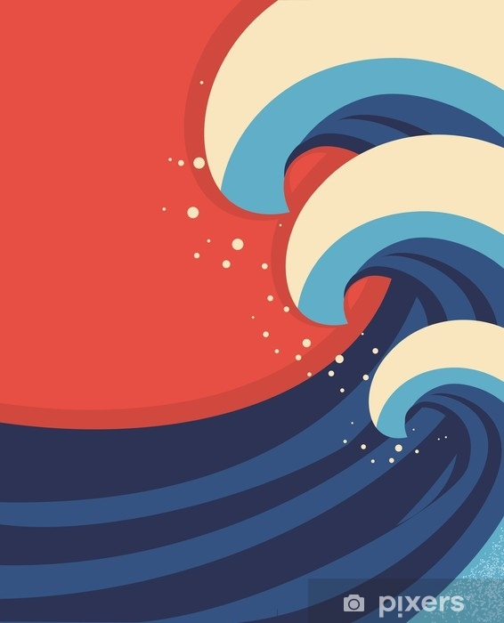Laptop-Aufkleber Meereswellen poster.vector Illustration der Seelandschaft. - Landschaften