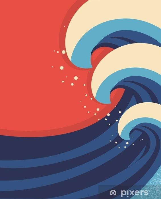 Naklejka na laptopa Fale morskie poster.vector ilustracja krajobraz morze. - Krajobrazy