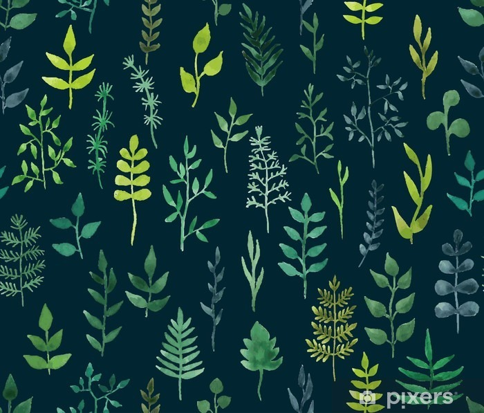 Vector green watercolor floral seamless pattern. Pixerstick Sticker - Graphic Resources