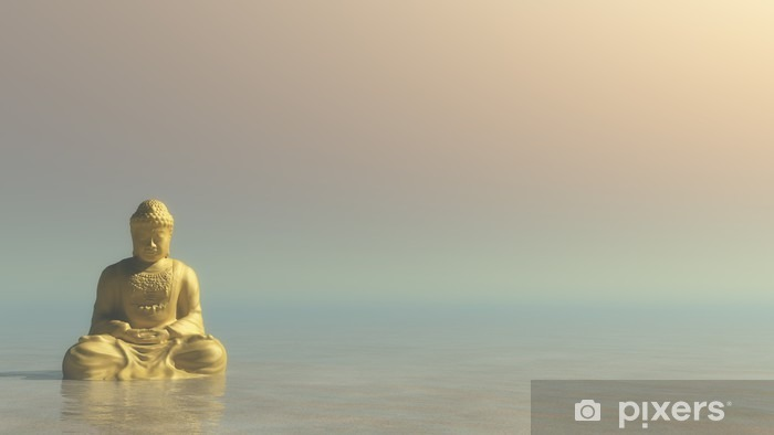 Fototapeta winylowa Złoty Budda - 3D render - Zasoby graficzne