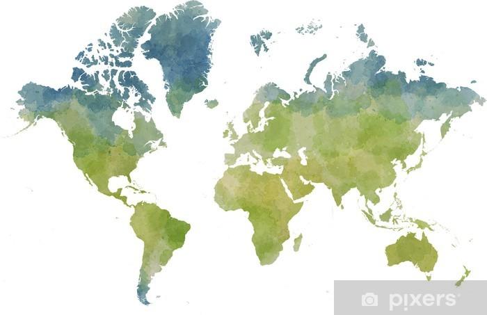 Carta da parati cartina mondo disegnata illustrata for Carta parati mondo