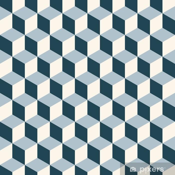 Pixerstick Aufkleber Vintage-Würfel 3D-Muster. Retro-Vektor-Muster. - 3D