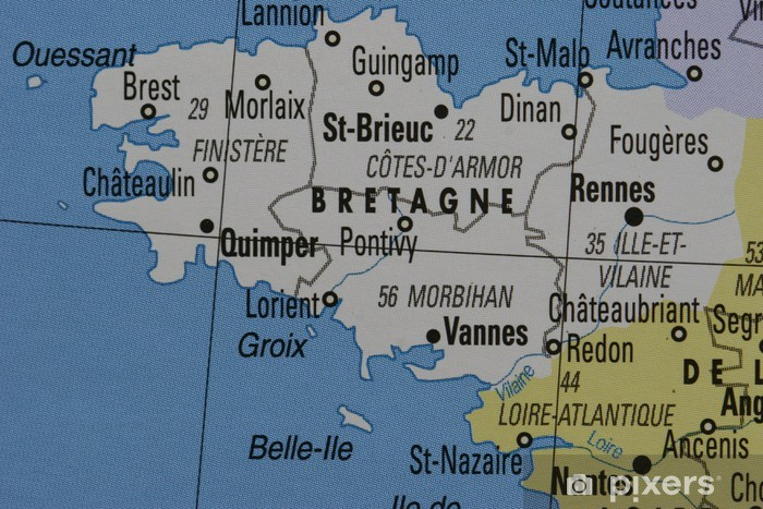 Kort Over Bretagne I Frankrig Fototapet Pixers Vi Lever For