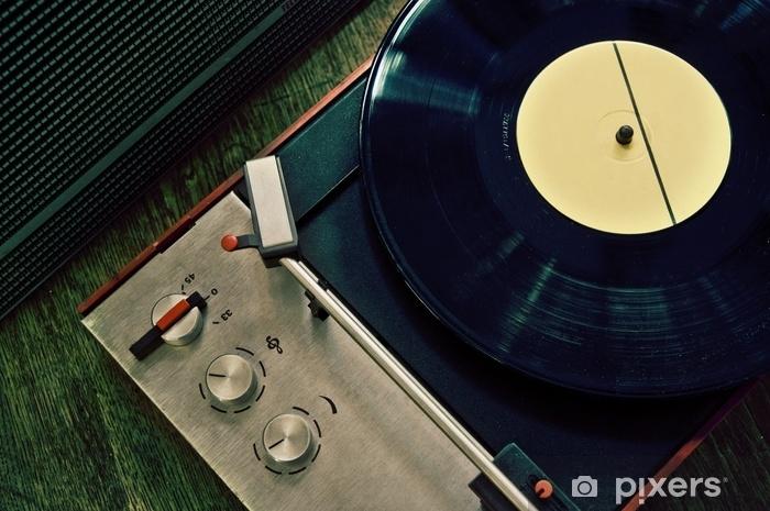 Papier peint vinyle Gramophone vintage avec disque vinyle - Passe-temps et loisirs