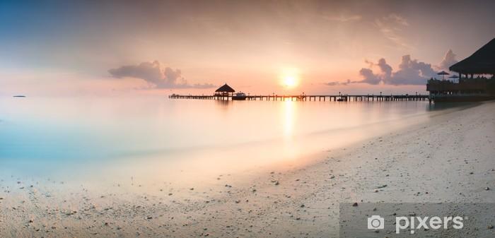 Fotomural Estándar Panorama de la salida del sol en las Maldivas - Vacaciones