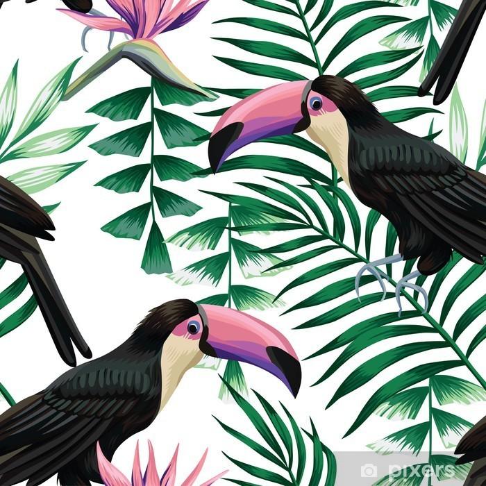 Pixerstick Sticker Toekan tropische patroon - Dieren