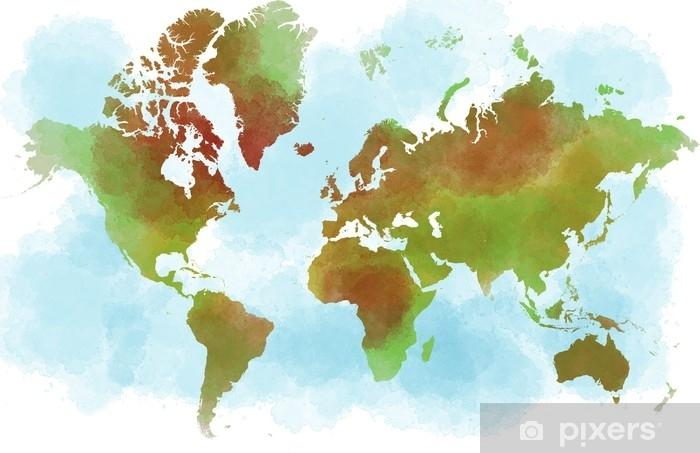 Cartina Il Mondo.Cartina Del Mondo Planisfero Disegnato A Mano A Pennellate Wall Mural Pixers We Live To Change