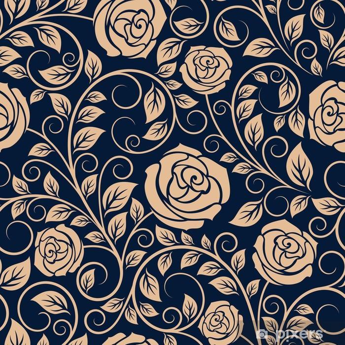 Carta da Parati in Vinile Vintage rose fiori seamless pattern - Sfondi