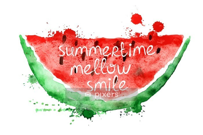 Watercolor illustration with slice of watermelon. Wall Decal - Food