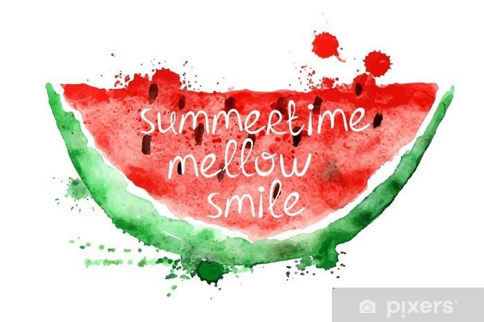 Laptop-Aufkleber Aquarell-Illustration mit Stück Wassermelone. - Essen
