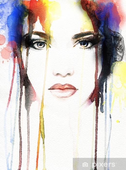 woman portrait .abstract watercolor Vinyl Wall Mural - People