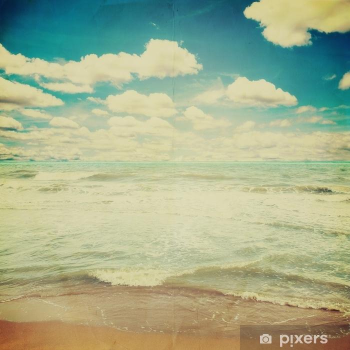 Fototapeta winylowa Błękitne morze fala i niebo chmury tło z eff tekstura - Krajobrazy