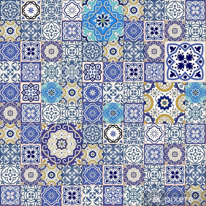 Vinilo para Nevera Patrón de mosaico sin fisuras de azulejos marroquíes Mega coloridos - Texturas