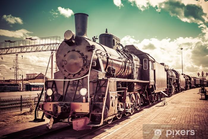 Fototapeta winylowa Stara lokomotywa parowa, pociąg w stylu vintage - Tematy