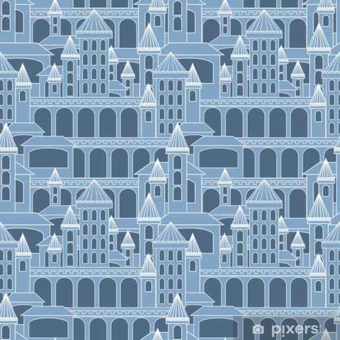 Sticker Pixerstick Castle pattern.Vector seamless illustration. - Ressources graphiques
